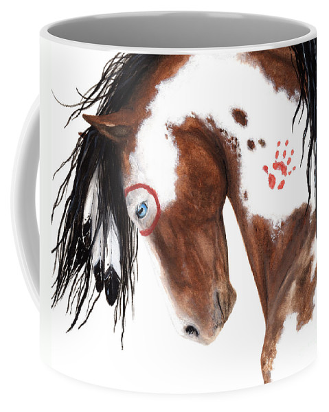Pinto Horse Coffee Mug featuring the painting Majestic Pinto Horse 129 by AmyLyn Bihrle