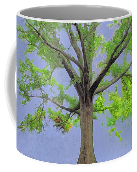 Painting Of Tree Coffee Mug featuring the painting Majestic Tree With Birds Nest by Susanna Katherine