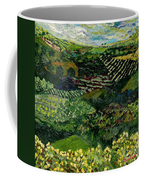 Landscape Coffee Mug featuring the painting Majestic Valley by Allan P Friedlander