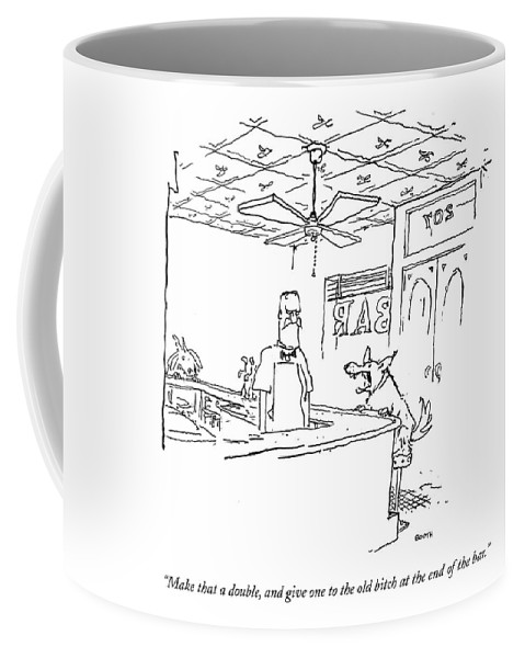 Bitch Coffee Mug featuring the drawing Make That A Double by George Booth