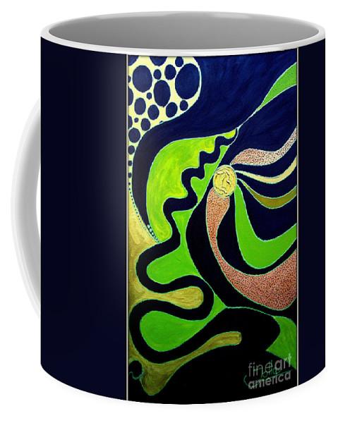 Abstract Coffee Mug featuring the painting Making Waves.. by Jolanta Anna Karolska