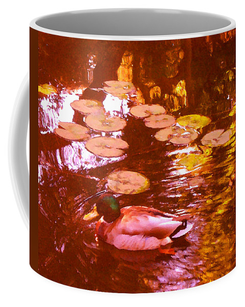 Landscapes Coffee Mug featuring the painting Malard Duck On Pond 3 by Amy Vangsgard