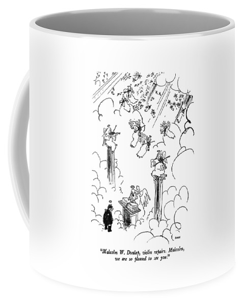 St. Peter To Man Entering Heaven Coffee Mug featuring the drawing Malcolm W. Dunlap by George Booth