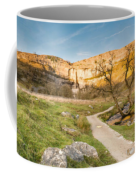Attraction Coffee Mug featuring the photograph Malham Cove Panorama by David Head