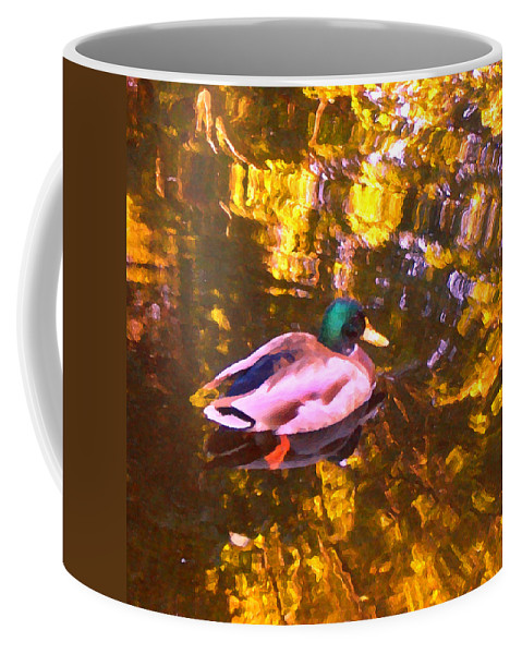 Landscapes Coffee Mug featuring the photograph Mallard Duck On Pond 1 by Amy Vangsgard