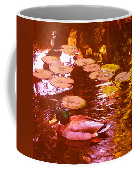 Landscape Coffee Mug featuring the painting Mallard Duck On Pond 3 Square by Amy Vangsgard