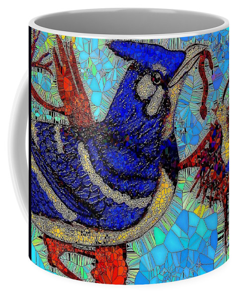 Mosaic Coffee Mug featuring the painting Mama Bird Feeding Baby Bird by Saundra Myles