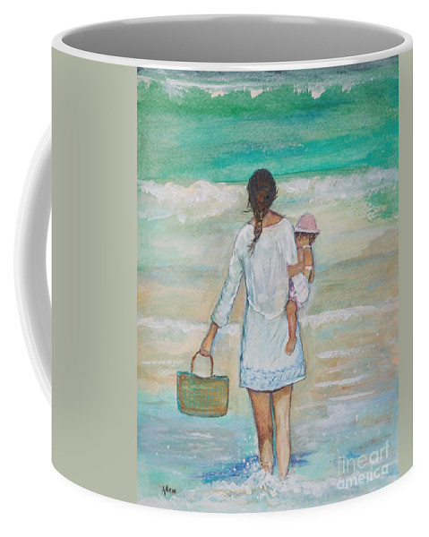 Mother Painting Coffee Mug featuring the painting Mama's Beach Day by Leslie Allen