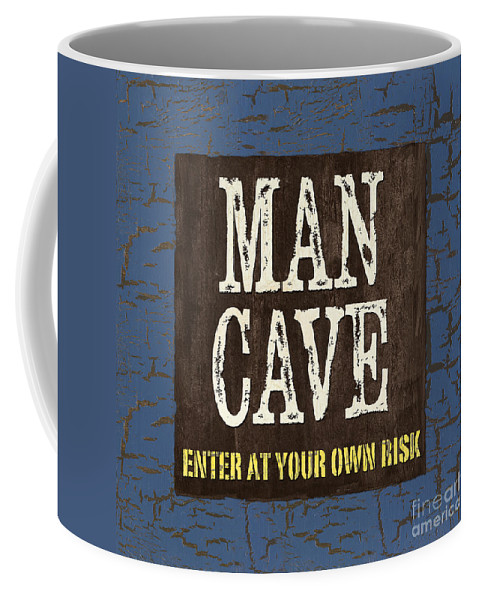 Man Coffee Mug featuring the painting Man Cave Enter At Your Own Risk by Debbie DeWitt