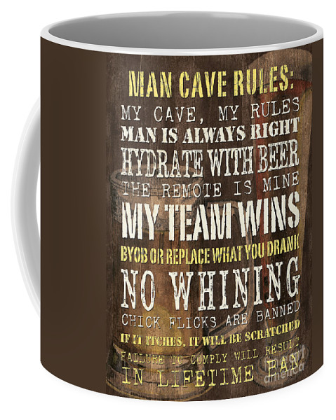 Man Coffee Mug featuring the painting Man Cave Rules 2 by Debbie DeWitt
