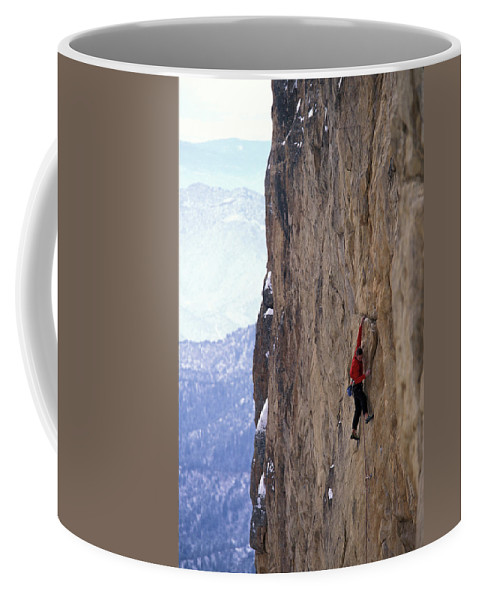 Action Coffee Mug featuring the photograph Man In A Red Shirt Lead Climbing by Corey Rich