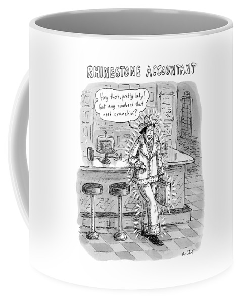 Cowboy Coffee Mug featuring the drawing Man In A Rhinestone Suit Leans Against A Bar by Roz Chast