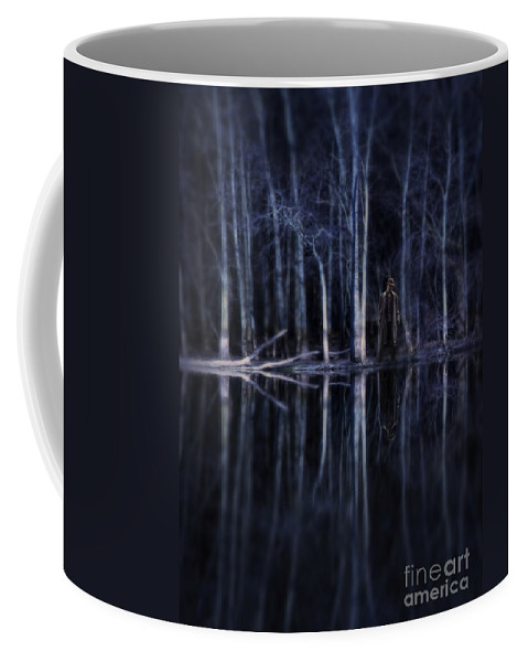 Man Coffee Mug featuring the photograph Man In Woods By River by Jill Battaglia