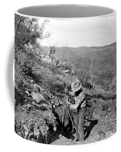 Mine Coffee Mug featuring the photograph Man Mining Ore by Larry Ward
