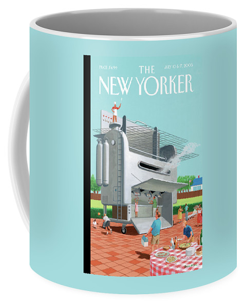 Leisure Coffee Mug featuring the painting Man Stands On His Massive Bbq Grill Which Outputs by Bruce McCall