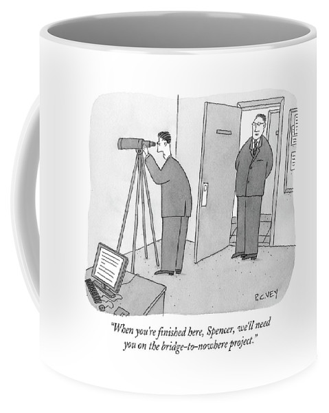 Spy Coffee Mug featuring the drawing Man Stares At Wall With Telescope by Peter C. Vey