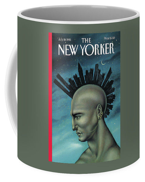 Mohawk Coffee Mug featuring the painting Mohawk Manhattan by Anita Kunz