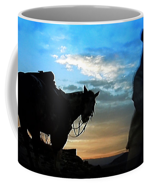 Colette Coffee Mug featuring the photograph Man With His Horse by Colette V Hera Guggenheim