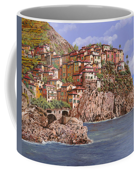 Seascape Coffee Mug featuring the painting Manarola  by Guido Borelli