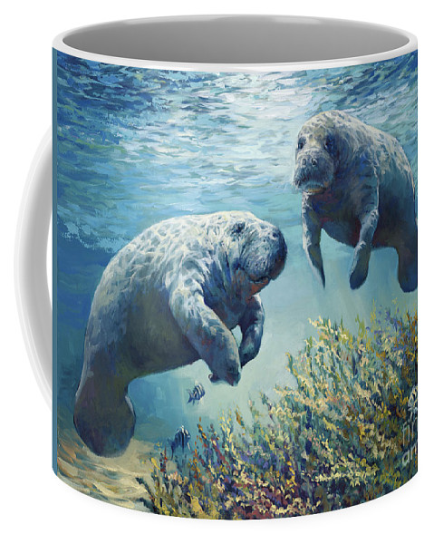Manatees Coffee Mug featuring the painting Manatee's by Laurie Snow Hein