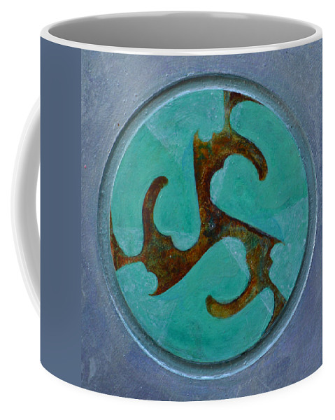 Mandala Modern Round Circle Outsider Thirds Abstract Blue Turquoise Brown Raw Folk Coffee Mug featuring the painting Mandala 7 by Nancy Mauerman