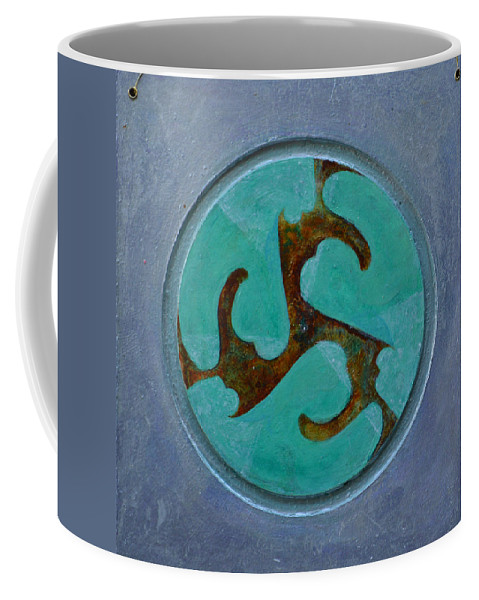 Mandala Modern Round Circle Outsider Thirds Abstract Blue Turquoise Brown Folk Raw Coffee Mug featuring the painting Mandala 7 - Ready To Hang by Nancy Mauerman