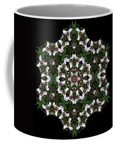 Mandala Coffee Mug featuring the digital art Mandala Trillium Holiday by Nancy Griswold