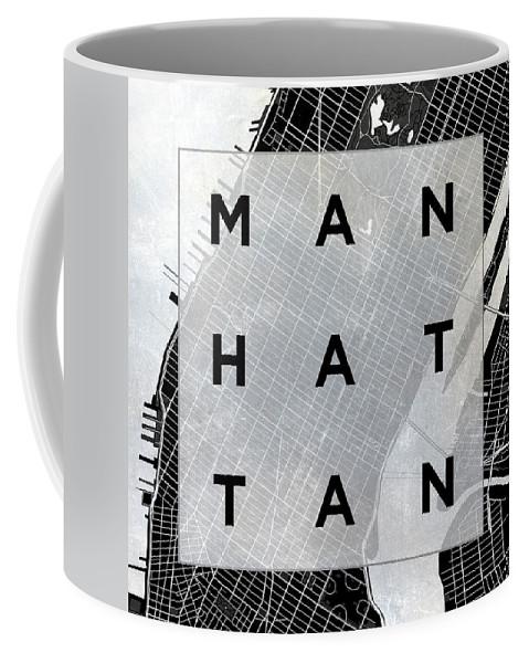 Manhattan Coffee Mug featuring the photograph Manhattan Square Bw by South Social Studio