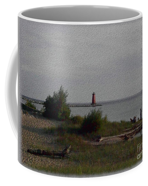 Lighthouse Coffee Mug featuring the photograph Manistique Light by Charles Robinson
