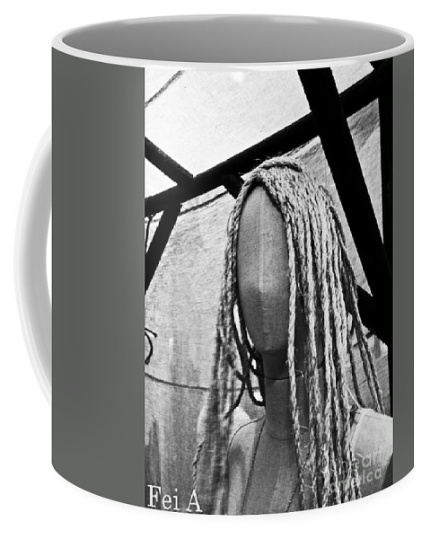 Black And White Coffee Mug featuring the photograph Mannequin Girl by Fei A
