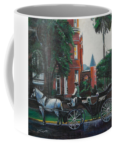 Coffee Mug featuring the painting Mansion On Forsythe Savannah Georgia by Jude Darrien