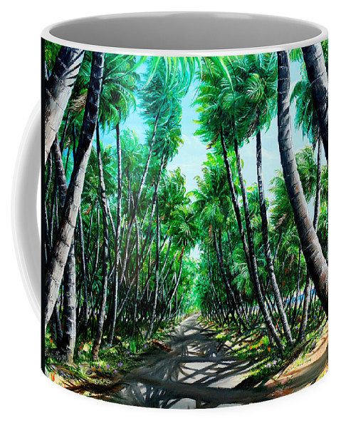 Coconut Trees Coffee Mug featuring the painting Manzanilla Coconut Estate by Karin Dawn Kelshall- Best