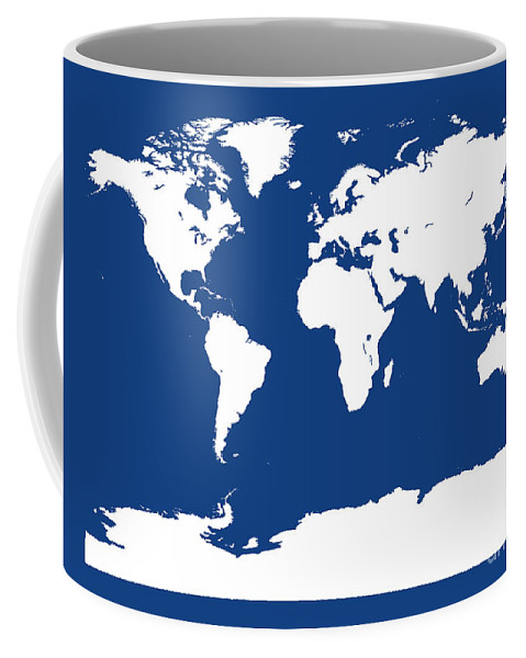 World Coffee Mug featuring the digital art Map In Blue And White by Jackie Farnsworth