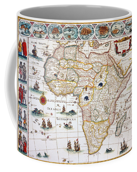 1630 Coffee Mug featuring the painting Map Of Africa, 1630 by Granger
