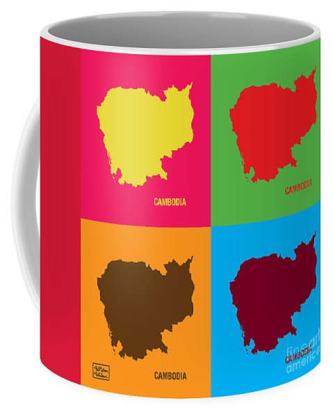 Map Coffee Mug featuring the digital art Map Of Cambodia Pop Art by To-Tam Gerwe