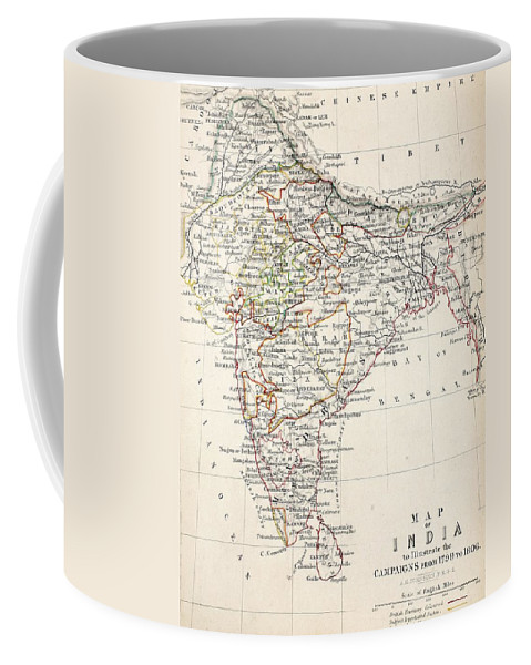 Map Coffee Mug featuring the drawing Map Of India by Alexander Keith Johnson