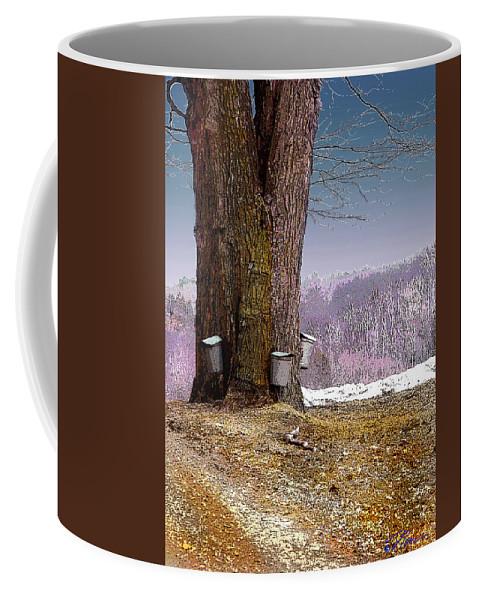 Landscape Coffee Mug featuring the digital art Maple Buckets by Nancy Griswold