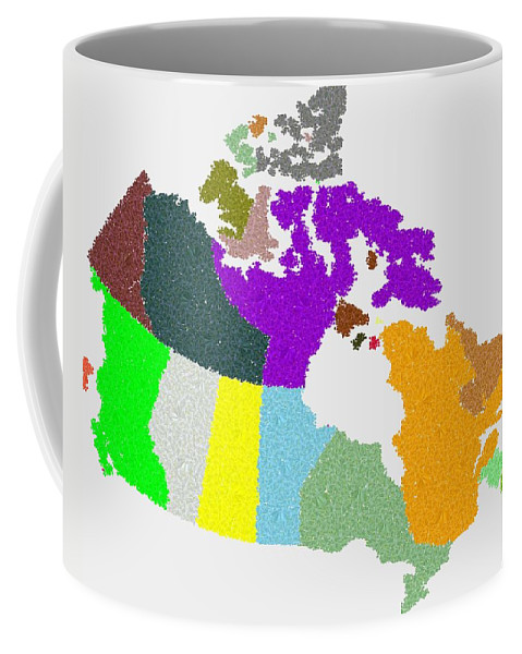 Maple Coffee Mug featuring the digital art Maple Leaves Map Of Canada by Samuel Majcen