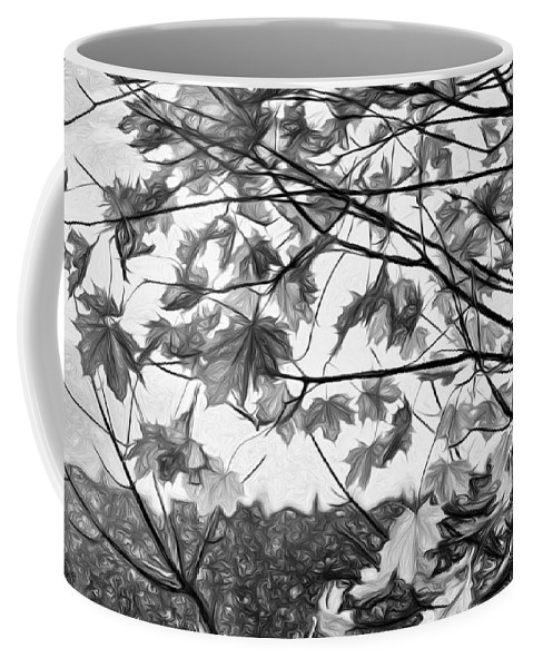 Landscape Coffee Mug featuring the photograph Maple Sunset - Paint Bw by Steve Harrington