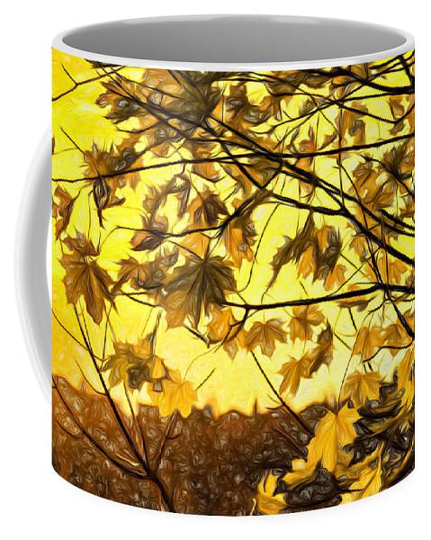 Landscape Coffee Mug featuring the photograph Maple Sunset - Paint by Steve Harrington
