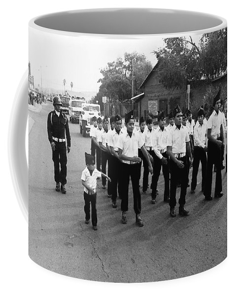 Marchers Number 1 100th Anniversary Parade Nogales Arizona 1980 Black And White Coffee Mug featuring the photograph Marchers Number 1 100th Anniversary Parade Nogales Arizona 1980 Black And White by David Lee Guss