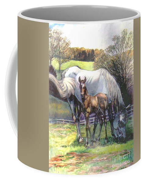 Horse Coffee Mug featuring the painting Mare And Foal by Stan Esson