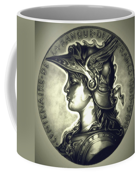 Coin Coffee Mug featuring the drawing Limited Edition Marianne Misty Night by Fred Larucci