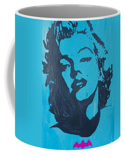 Marilyn Monroe Coffee Mug featuring the painting Marilyn Monroe Loves Batman by Robert Margetts