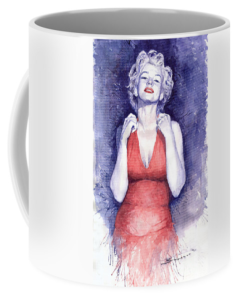 Watercolour Coffee Mug featuring the painting Marilyn Monroe by Yuriy Shevchuk