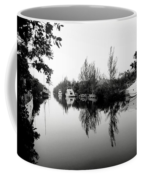 Black And White Coffee Mug featuring the photograph Marina Drive Canal by Amar Sheow