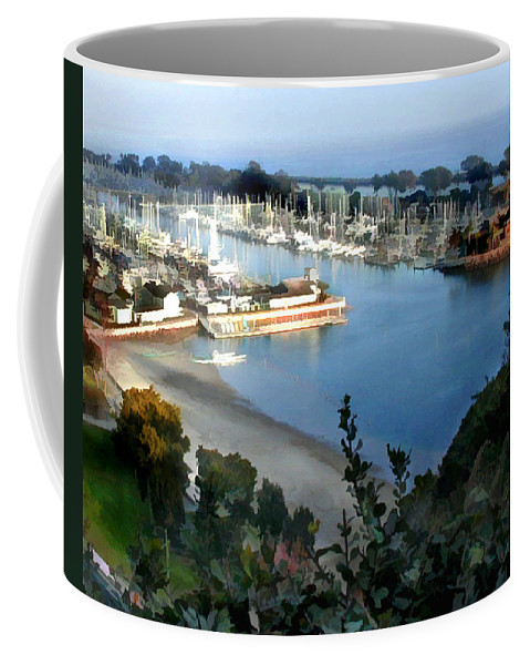 Boats Coffee Mug featuring the painting Marina Overlook by Elaine Plesser