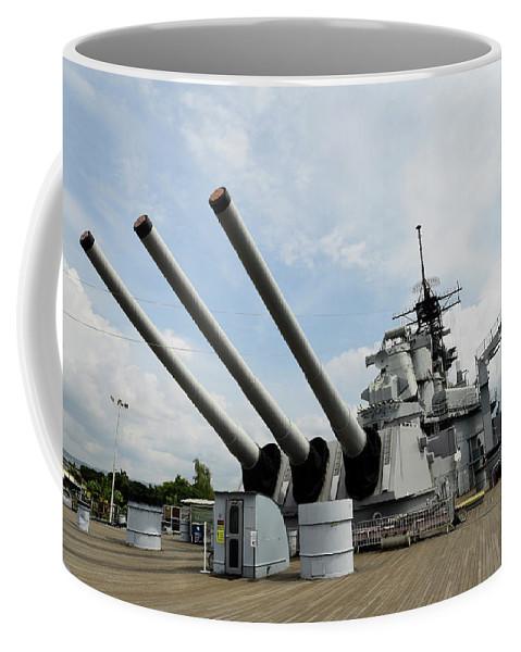 Horizontal Coffee Mug featuring the photograph Mark 7 16-inch Gun Barrels On Deck by Stocktrek Images