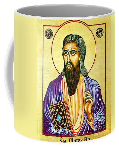 Mark The Evangelist Coffee Mug featuring the painting Mark The Evangelist Icon by Ryszard Sleczka