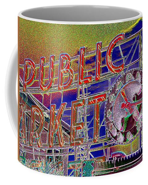 Seattle Coffee Mug featuring the digital art Market Clock 1 by Tim Allen
